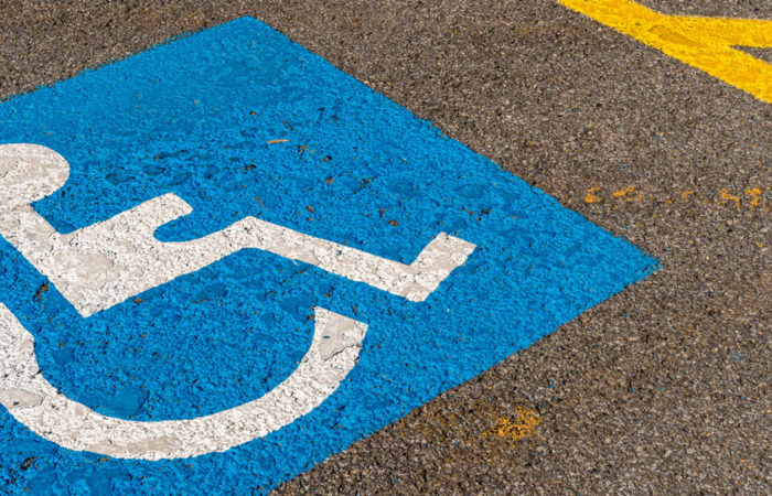 A parking stall reserved for people with disabilities.