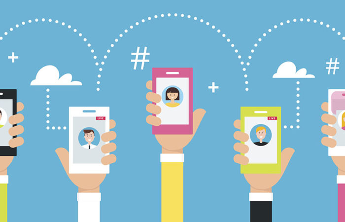Five cell phone users connecting effortlessly using social media. Illustration.