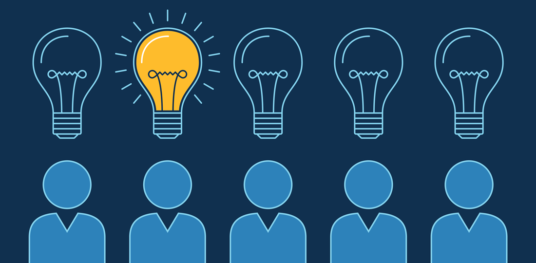 A lightbulb switching on above a member of a group. Illustration.