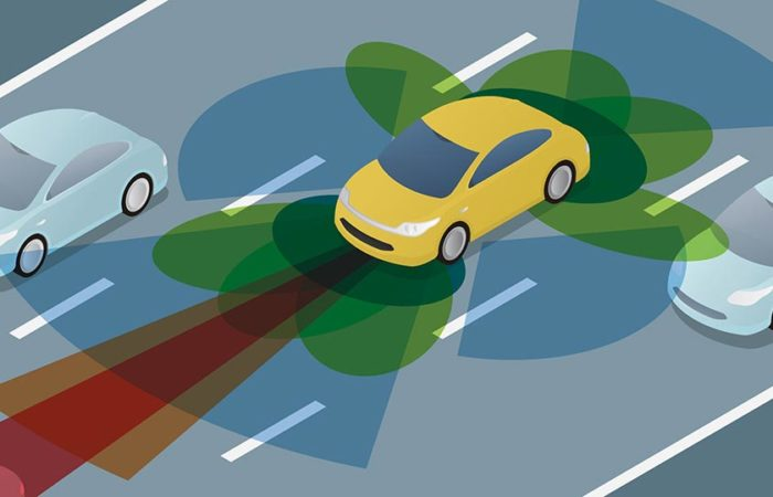A self-driving vehicle using its sensors to navigate traffic. Illustration.