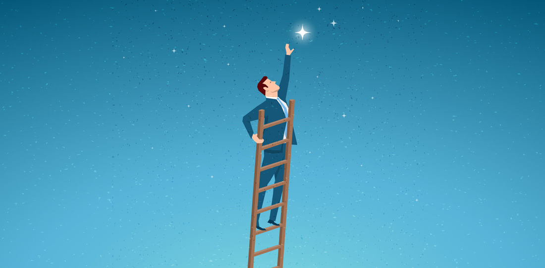A suited businessman standing atop a tall, wooden ladder to reach for a star. Illustration.