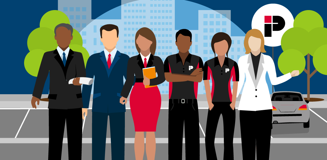 Impark's team of account managers, transition specialists, auditors, and customer service representatives stand in an Impark-managed parking lot. Illustration.