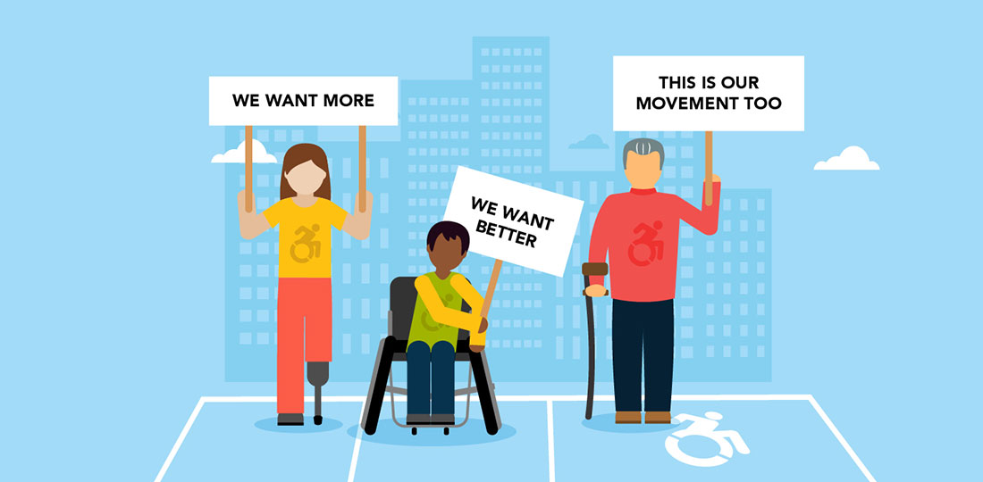 Disability rights activists holding banners in a parking space depicting the Dynamic Symbol of Access (DSA). Illustration.