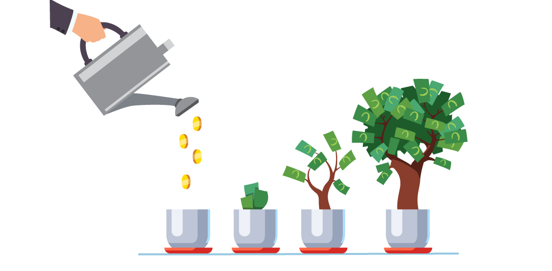 A plant is watered until it grows into a money tree. Illustration.