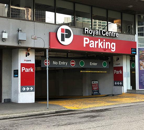 Royal Centre Parking Garage Entrance