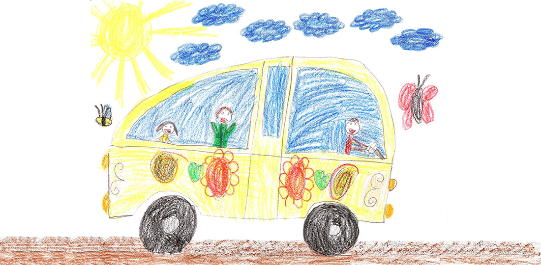 A child's drawing of a car journey on a sunny day. Illustration.