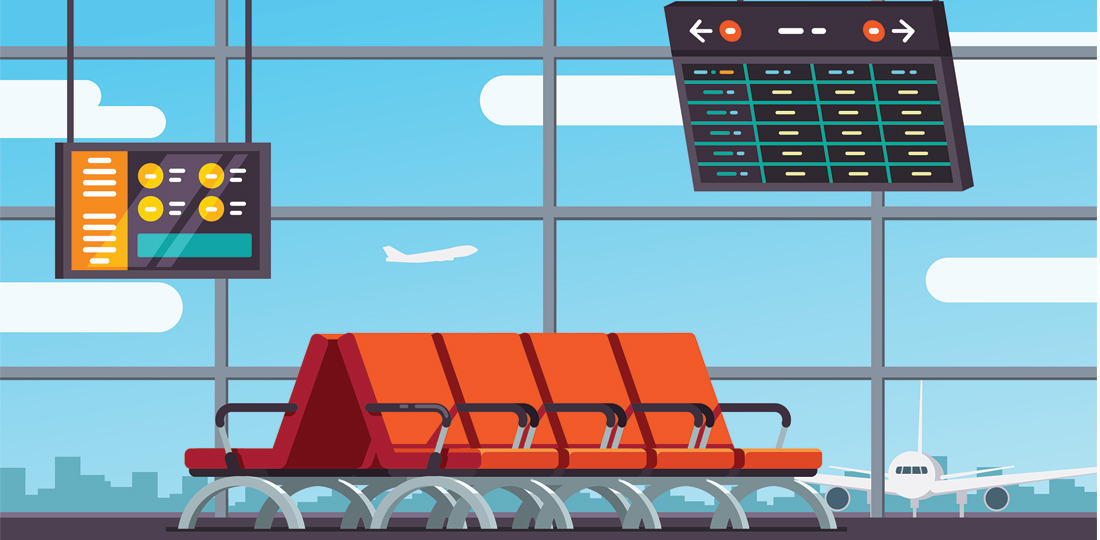 An empty waiting area at an airport terminal. Illustration.