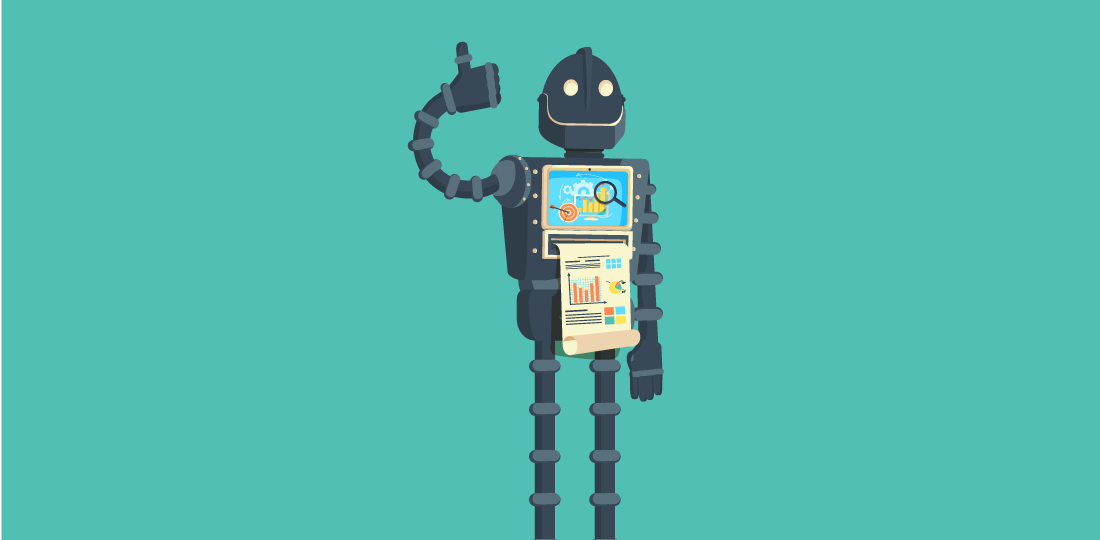 A smiling robot giving a thumbs-up while printing reports from a screen in its chest. Illustration.